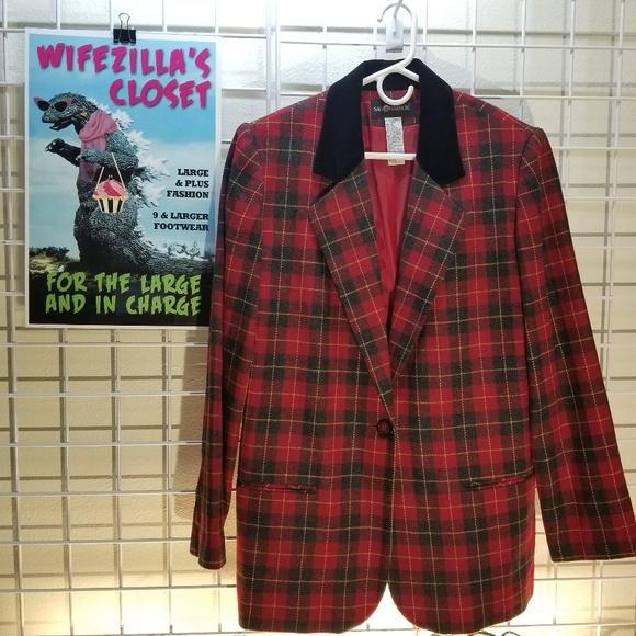 Sag Harbor Jackets & Blazers - Sag Harbor Red & Black Wool Blend Plaid Blazer -12